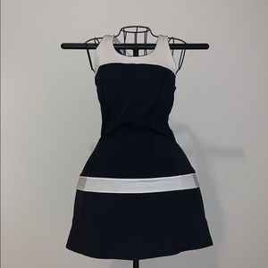 Black and White Lululemon Hot Hitter Tennis Dress